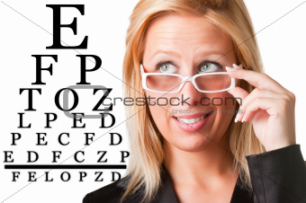 Wondering Businesswoman Looking at an eyechart