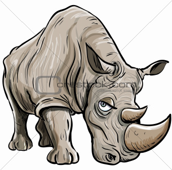 Cartoon illustration of a rhino