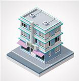 Vector isometric hotel