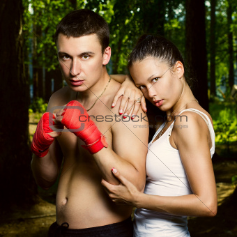 Fashion photo of young man and woman