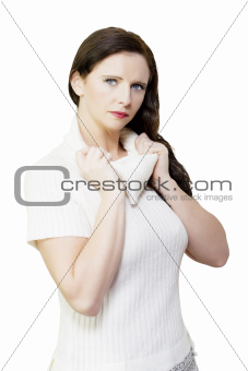 Beautiful winter woman wearing white fleece jumper