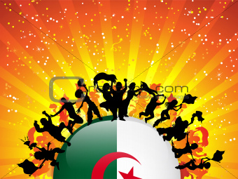 Algeria Sport Fan Crowd with Flag