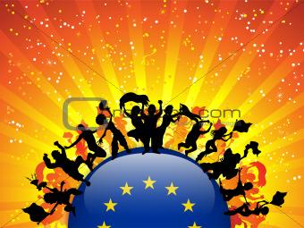Europe Sport Fan Crowd with Flag