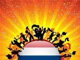 Netherlands Sport Fan Crowd with Flag