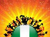 Nigeria Sport Fan Crowd with Flag