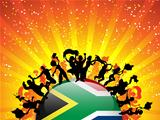 South Africa Sport Fan Crowd with Flag
