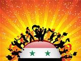 Syria Sport Fan Crowd with Flag