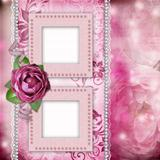 Album page - romantic background with frames, rose, lace, pearl,
