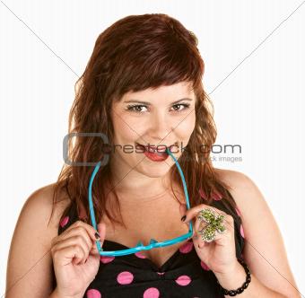 Cute Woman Biting Glasses