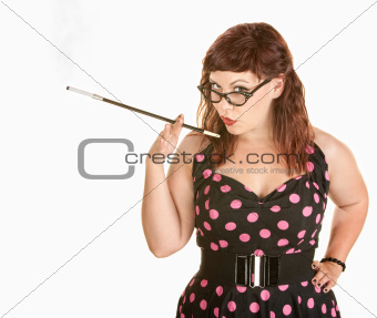 Lady in Polka Dot Dress Smoking