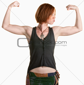 Young Woman with Muscles