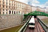 Railway bridge and train in Vienna