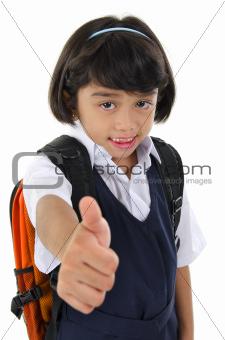 Thumb up primary school girl