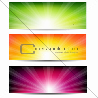 Abstract Color Sunburst Banner Set