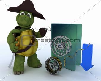 Pirate Tortoise depicting illegal movie downloads