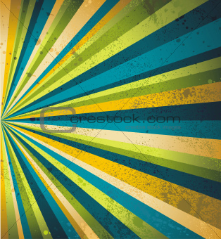 Multicolor beams grunge background. A vintage poster.