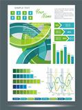 Blue and green technological banner with Information Graphics .