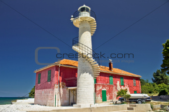 Colorful lighthouse Puntamika in Zadar