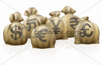 Foreign currency exchange sacks