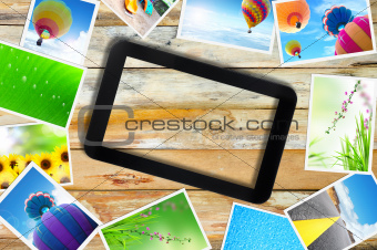touch pad PC with streaming images on wood