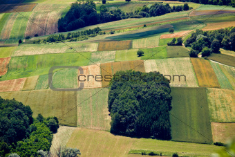 Green field layers aerial view