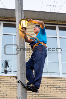 electrician on a pole