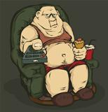 Fat man with a remote control