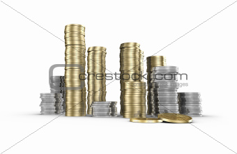 Piles of Money (with clipping path)