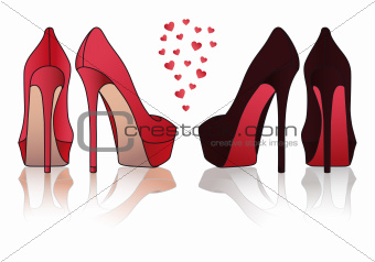 high heel stiletto shoes, vector