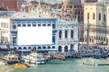 Venice with advertising wall