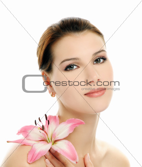 girl with pink lily