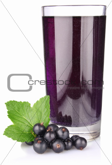 black currant with juice and green leaf