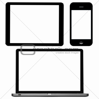 laptop, digital tablet and phone with blank screens