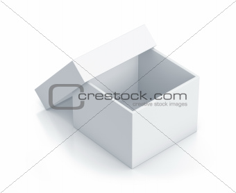White cube box with top cover.