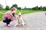 The young woman playing  with puppy outdoor