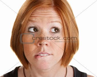 Thinking Woman Biting Her Lip