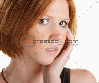 Thinking Lady with Hand on Face