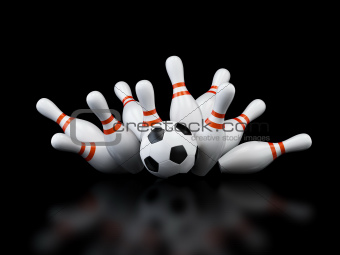 footbol goal strike bowling on black background