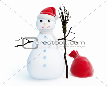 snow men red bag santa hat
