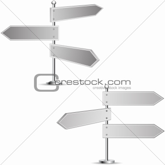 Black-and-white signposts