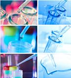 Test tubes closeup on blue background..