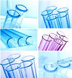 Test tubes closeup on blue