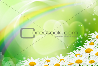 Hearts and daisies on a green background
