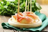 ham  Prosciutto with melon,  Traditional Italian appetizer