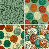 4 Vector Seamless Patterns with Funky Abstract Roses
