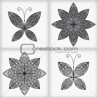 Vector Set with 2 Butterflies and 2 Flowers