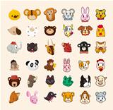 set of cute animal face icons