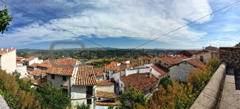 Small spanish town with mountain view. Morella in Span. Panorama.
