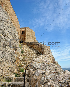 Old ruined castle in  Morella town, Spain.