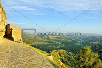 Small spanish old town with mountains view. Ares in Spain.